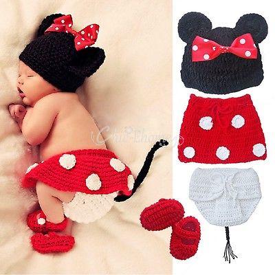 Baby Mädchen Minnie Mouse Maus Kostüm Set Strick Häkel Outfit Fotoshooting Neu