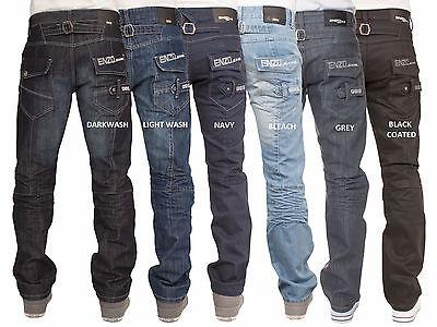 Mens Enzo Designer Branded Straight Blue Denim Jeans Pants Waist & Sizes 28-48