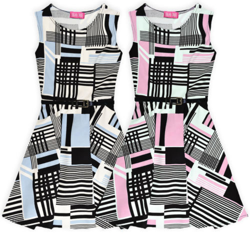 Girls Printed Skater Dress Kids Belted Sun Party Dresses New Age 7 - 13 Years
