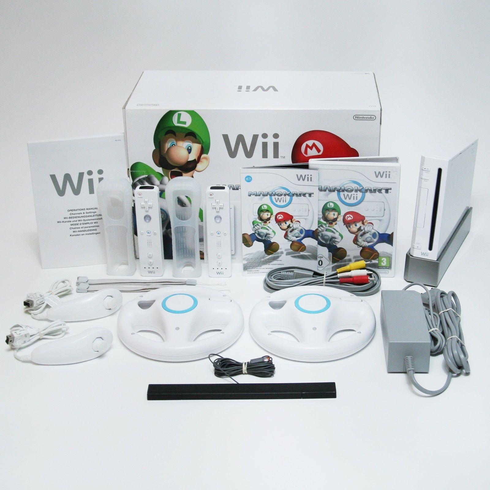 Nintendo Wii Spielkonsole | Mario Kart Pack + 2x Remotes + 2x Lenkrad + OVP Weiß