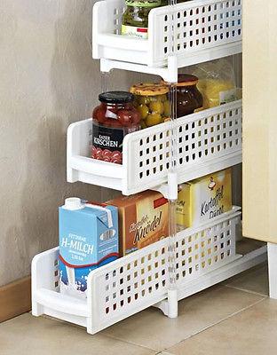 Nischenregal 3 Fächer ausziehbar Nischenwagen Regal Haushaltsregal Küchenregal