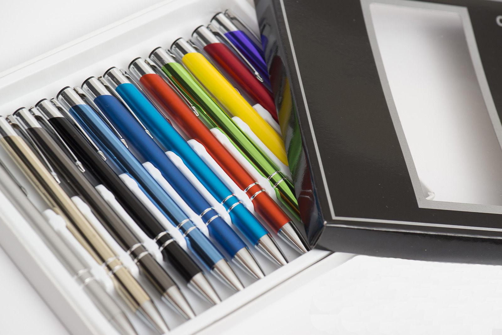 12st Farben Mix Metallkugelschreiber mit Wunschgravur, Kugelschreiber mit Gravur