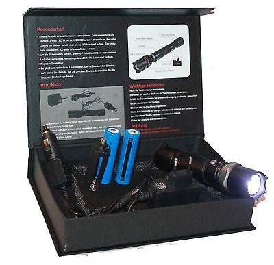 Swat Polizei Led Cree Taschenlampe Zoom 1000Meter Leuchtweite mit 2x8800mAh Akku