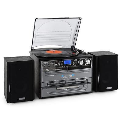 VINYL CD RETRO PLAYER MUSIC SPEAKER HOME CD RADIO FM USB CASSETTE RECORDER BLACK