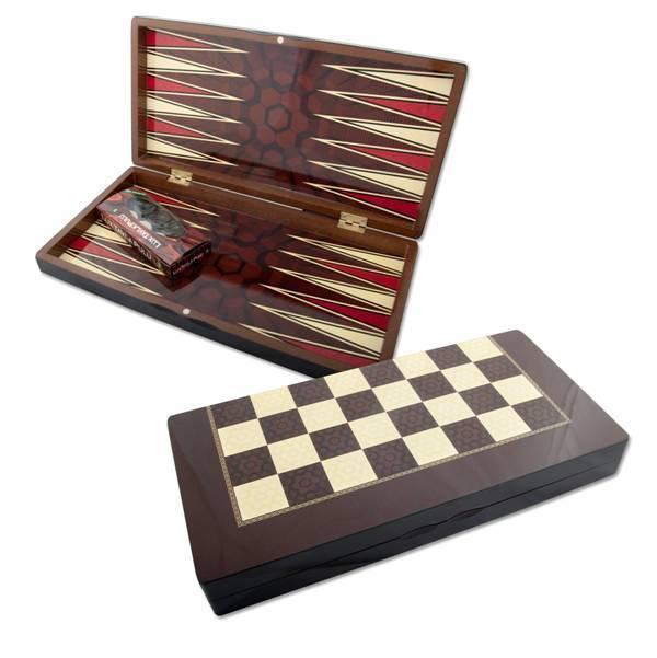 Orientalischer Backgammon Holz Tavla Dame Spielbrett XXL 48x48 cm