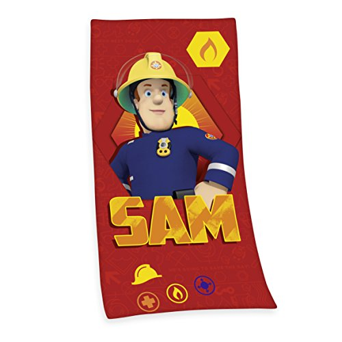 Herding 6170201516 Velourshandtuch Feuerwehrmann Sam, 75 x 150 cm, 100 % Baumwolle, bedruckt