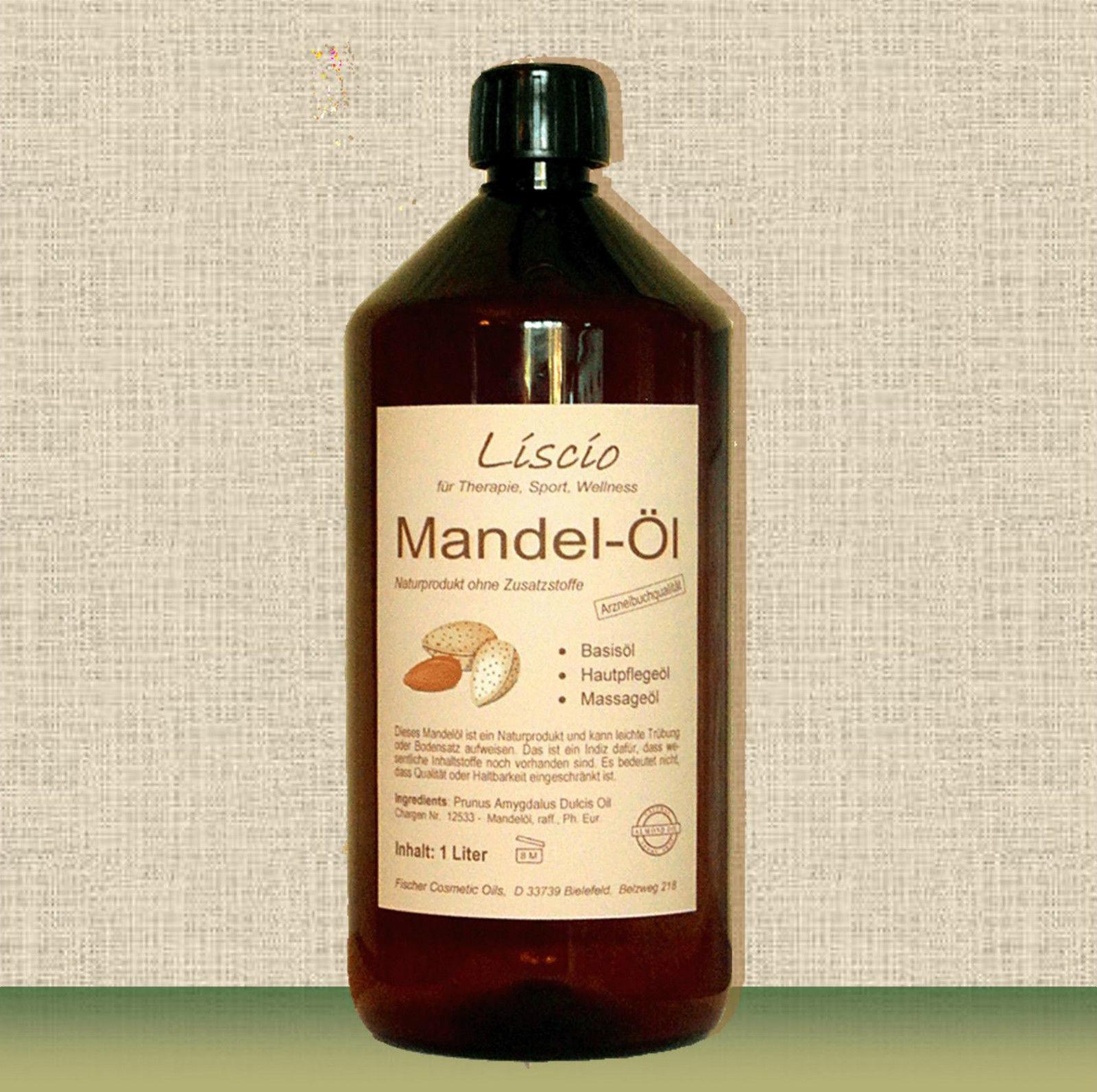 Reines Mandelöl, 1 Liter inkl. Dosierpumpe, für Hautpflege, Kosmetik etc.