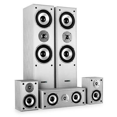 SILVER HIFI 5 WAY SURROUND SOUND HOME CINEMA TOWER SATELLITE SPEAKER SYSTEM WALL