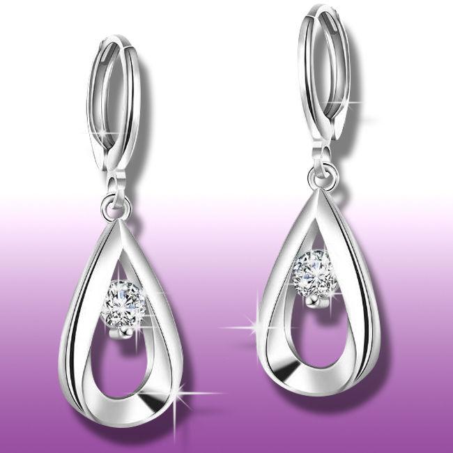Ohrringe Nr.0208 / 925 Sterling Silber plattiert Ohrhänger Ohrstecker Zirkonia