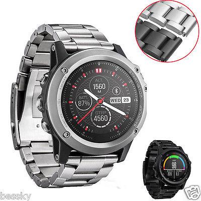 Luxus Riemen Armband Metall Edelstahl Uhrenarmband Für Garmin Fenix 3 / HR