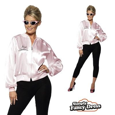 Adult Ladies Official Grease Pink Ladies Jacket Fancy Dress Costume