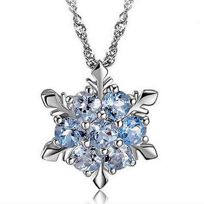 Kristall Schneeflocke Frozen Blumen Silber Halskette Anhänger Blau Collier Kette