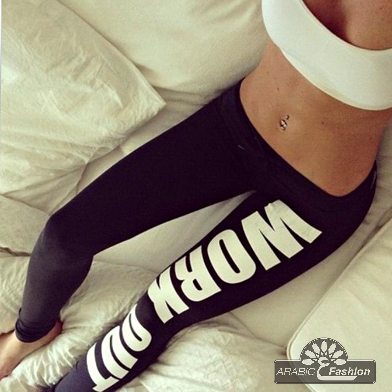 WORK OUT Leggings  Sweat  Fitness Workout Pants Freizeit Sport Damen Leggins NEU