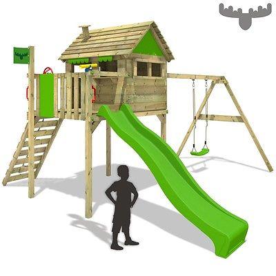 FATMOOSE FunFactory Fit XXL Spielturm Baumhaus Schaukel Stelzenhaus Rutsche Holz