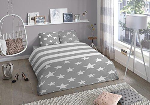 Aminata elegante Jugend-Bettwäsche 135x200 cm Sterne Streifen Grau weiß Teenager-Bettwäsche Mädchen Jungen Baumwolle