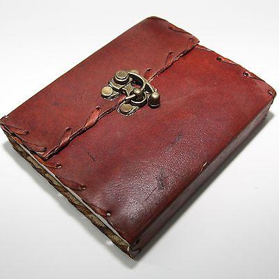 EDEL! LEDERBUCH mit Bügel-Schloss,Kladde-Notizbuch,Tagebuch Buch Leder 13 x 11