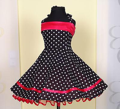 Mädchen 50-er Jahre Petticoat, Tanz,Einschulung Kleid Gr. 104-128 Schwarz/rot