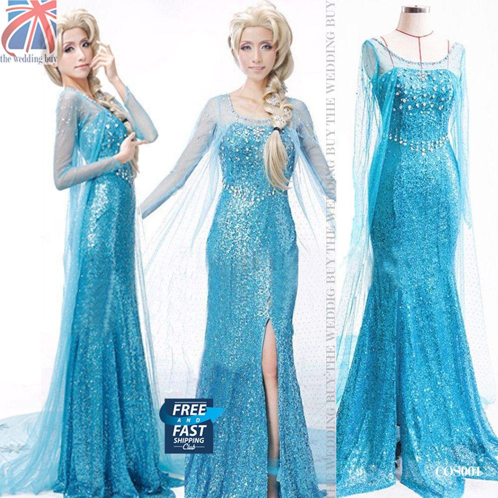 Women Adults Frozen Princess Queen Elsa Costume Cosplay Party Fancy Dress COS001
