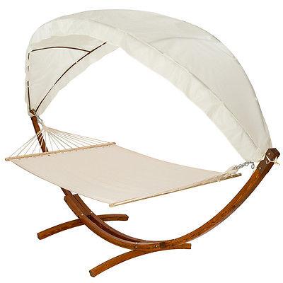 400 CM Hängematte mit Gestell Holz +Dach Gartenliege Sonnenliege Gartenmöbel neu