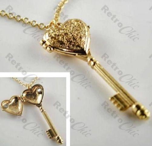 ORNATE KEY LOCKET pendant OPENS long NECKLACE antique gold VINTAGE STYLE heart