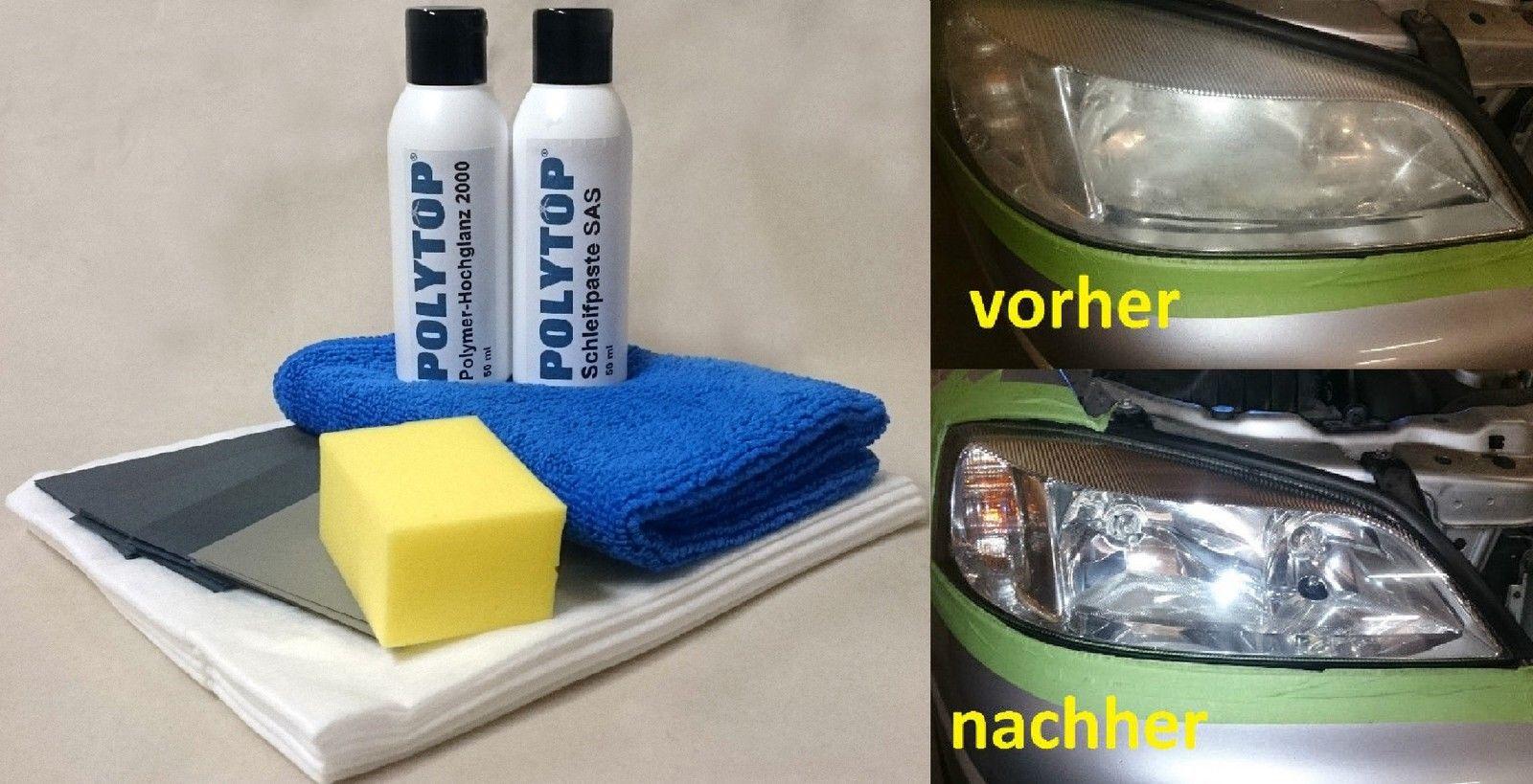 Polytop Scheinwerfer Aufbereitung Set Politur Acryl-Plexiglas Reparatur