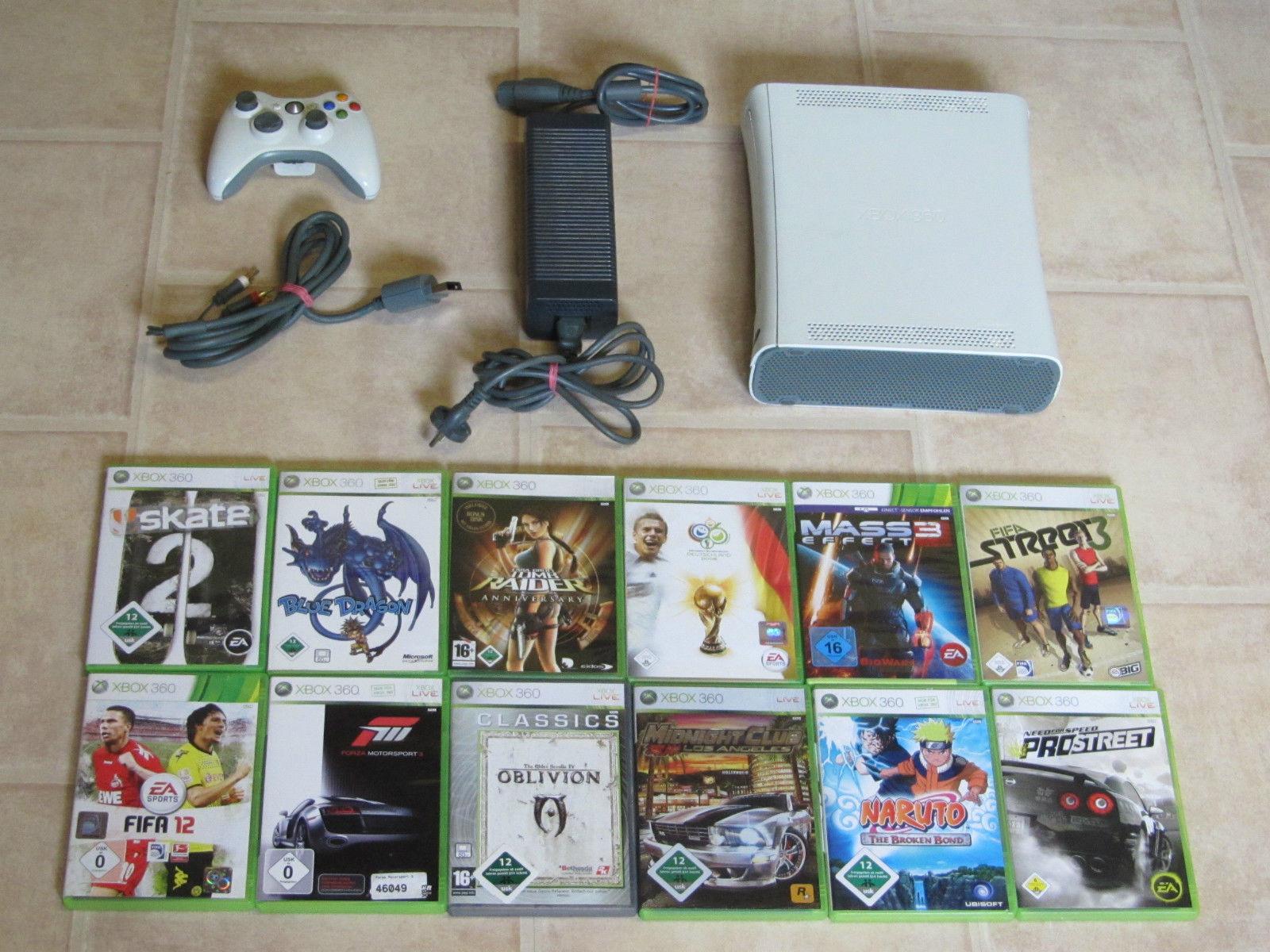 Xbox 360 Konsole komplett mit 3 Gratis Spiele + Controller
