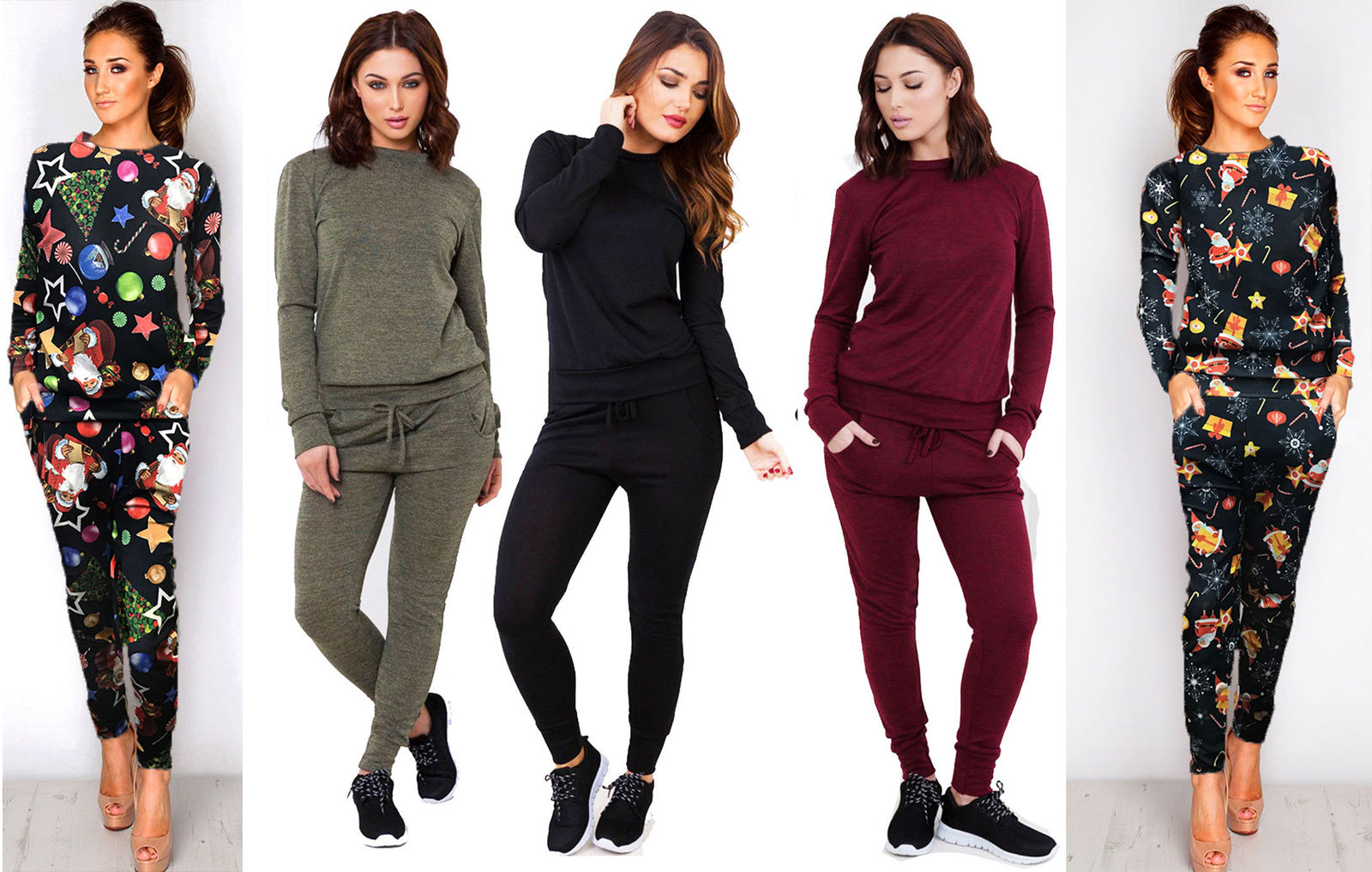 New Womens Ladies Loungewear Set Sweatshirt Joggers Fine Knit Tracksuit Pants.