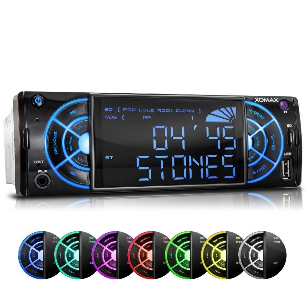 RDS AUTORADIO MIT USB+SD=256GB MP3 WMA ID3-TAG AUX-IN 4x60W 1DIN MODERNES DESIGN