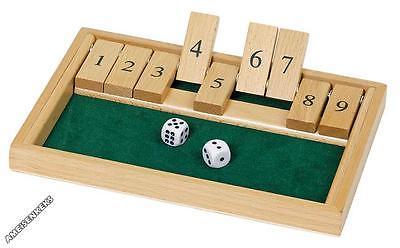 SHUT THE BOX Spiel Holz Würfelspiel Klappenspiel Brettspiel Klappbrett °NEU°