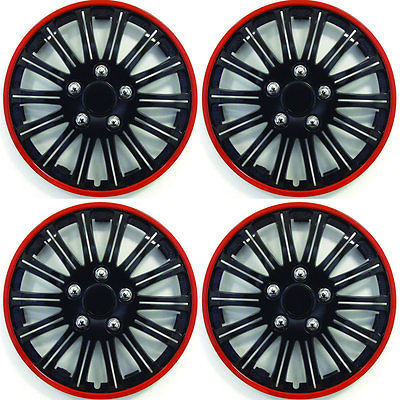 SET OF 4 x 14 INCH RED AND BLACK SPORTS WHEEL TRIMS COVER HUB CAPS 14