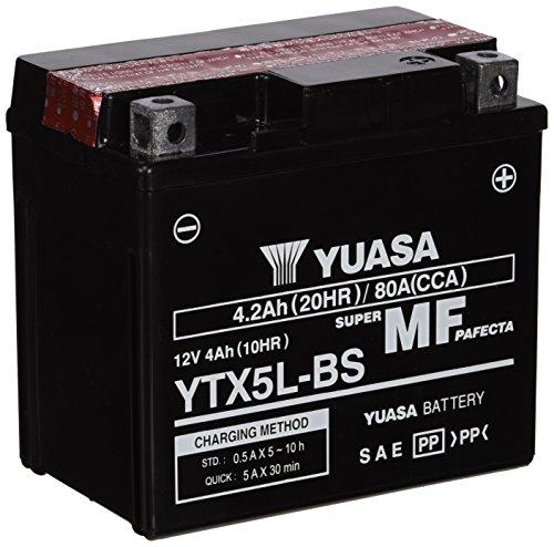 YUASA YTX5L-BS Powersports AGM Motorrad Batterie, wartungsfrei (Preis inkl. EUR 7,50 Pfand)