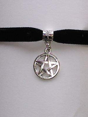 Adjustable Black Velvet Pentagram Pentacle Choker necklace Wiccan Pagan Gothic