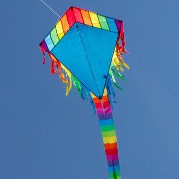 Einleiner-Drachen - Maya Eddy BLUE - für Kinder ab 3 Jahren - Abmessung: 65x74cm - inkl. 80m Drachenschnur und 2x250cm Streifenschwänze