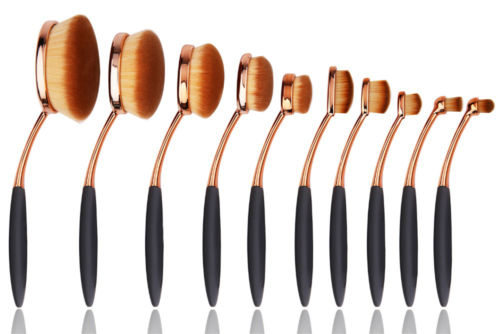 10tlg Foundation Oval Pinsel Rose Gold Kosmetik Brush Make Up Zahnbürste Set