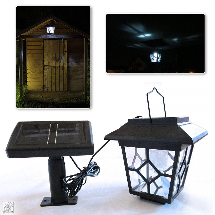 LED Solar-Laterne mit externer Solarzelle als Lampe Leuchte Gartenhaus Spielhaus