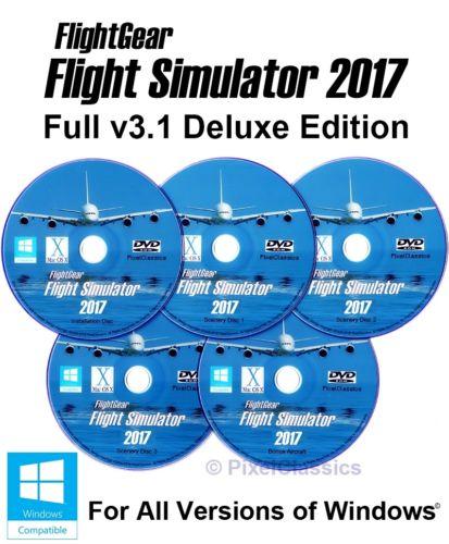 Flight Simulator 2017 DELUXE Edition X Flight Sim v3.1 Windows 10 8 7 XP PC 5DVD