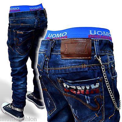 H1311 Super-Coole Kinder Hose Jeans Junge mit Kette CHILONG-DENIM  Gr.122-176 neu 938983be57