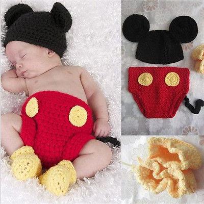 Neugeborene Mouse Baby Sets Strick Kostüm Gestrickt Mütze Hose Fotoshooting Hut