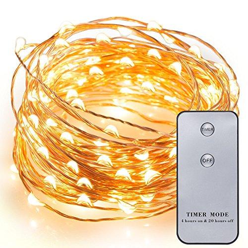 Kohree draht Lichterkette 20ft 120 LED Schnur-Licht /batteriebetrieb mit Timer&Fernbedienung / für Festival, warmes Weiß