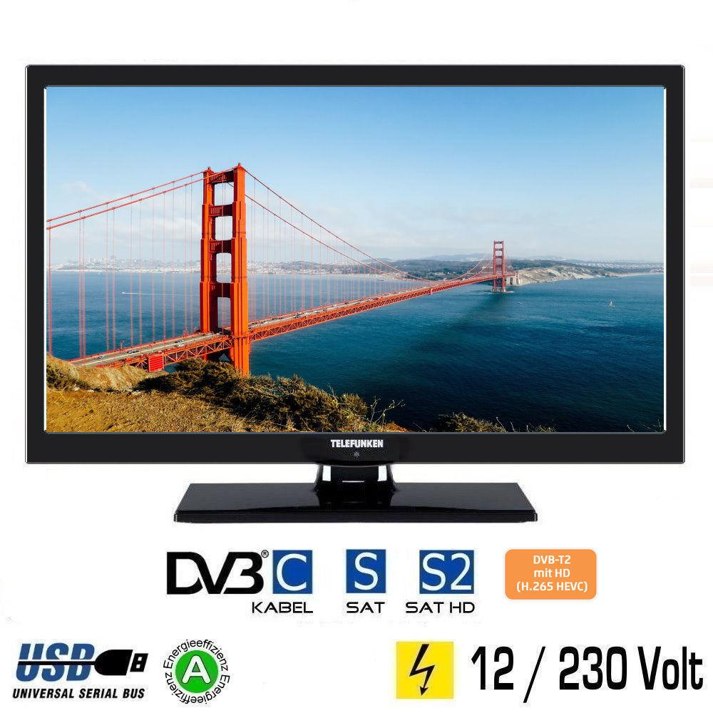 Telefunken L22F272 LED Fernseher 22 Zoll DVB/S/S2/T/T2/C USB 12V 230V