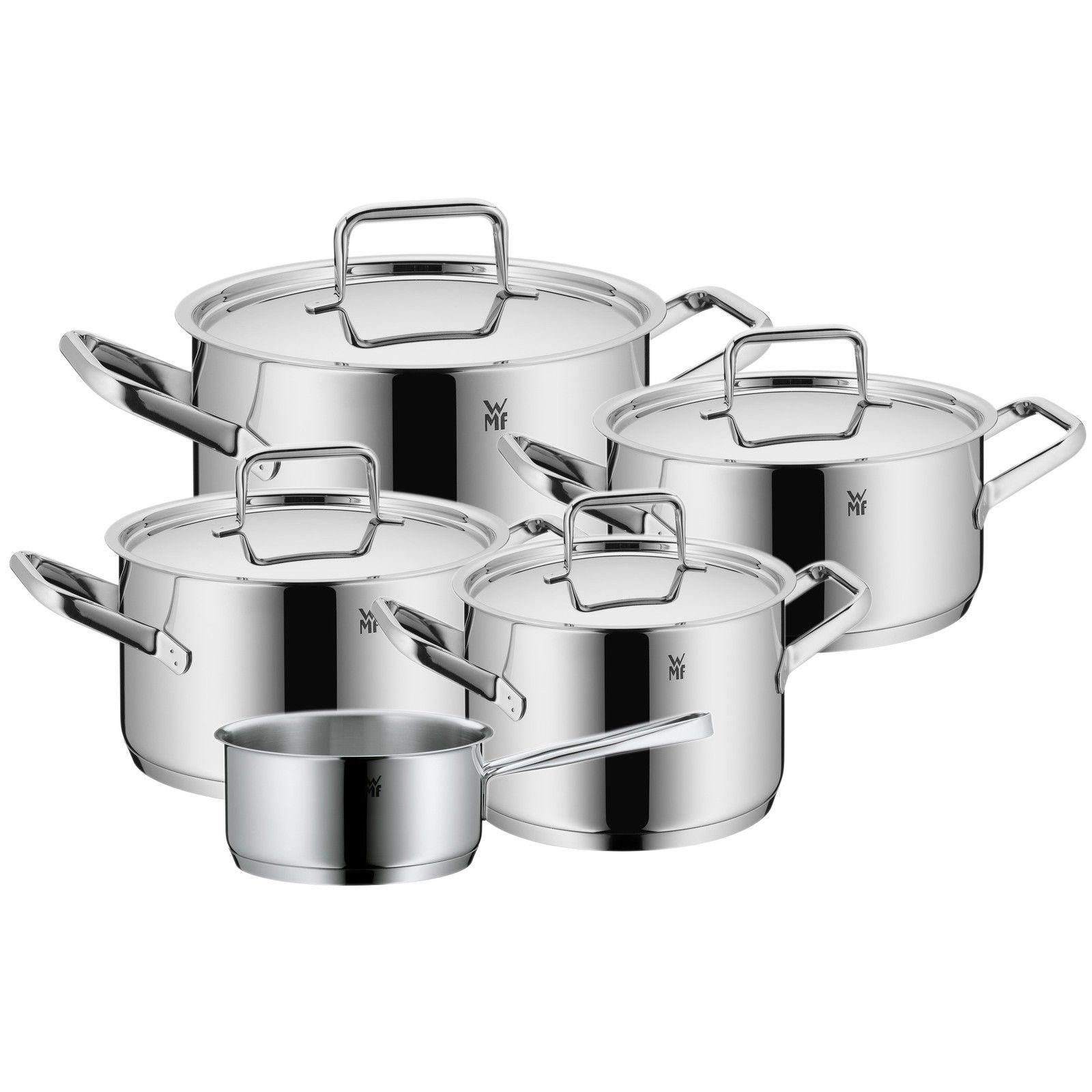 WMF Topf-Set 5-teilig Dimension Hohlgriffe Schüttrand Metalldeckel Cromargan®