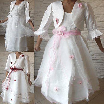 2 Teiliges Mädchen Kommunionskleid Taufe Festkleid Hochzeit+Bolero+Reifrock KL01