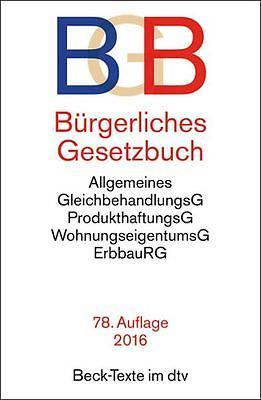 BÜRGERLICHES GESETZBUCH (BGB) 78. Auflage 2016 Beck-Texte im dtv ******NEU******
