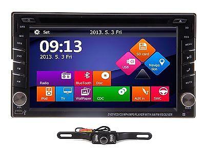 6,2 AUTORADIO 2 Din BLUETOOTH FM IPOD 3D TV DVD USB Navi GPS Navigation + Kamera
