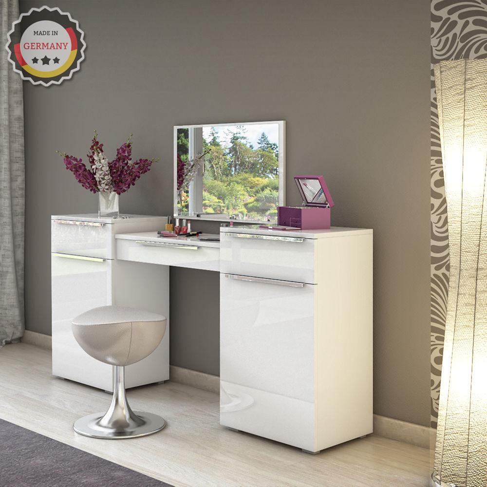 Design Frisiertisch Schminktisch Kosmetik Set Kommode mit Spiegel Hochglanz weiß