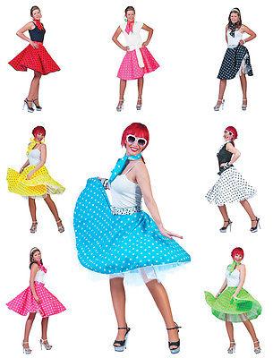 Fifties Petticoat Tellerrock mit Halstuch Punkte Rock Kostüm 50er Jahre Damen