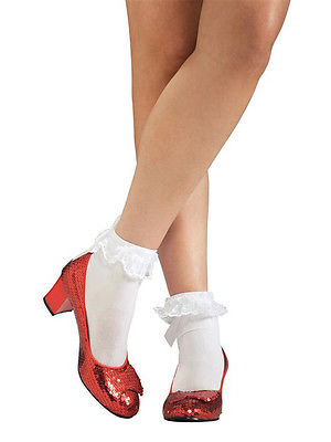 Adult Dorothy Ruby Slippers Fancy Dress Costume Wizard of Oz Shoes Ladies BN