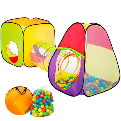 Kinderzelt +Tunnel + 200 Bälle + Tasche Spielzelt Bällebad Krabbeltunnel Würfel
