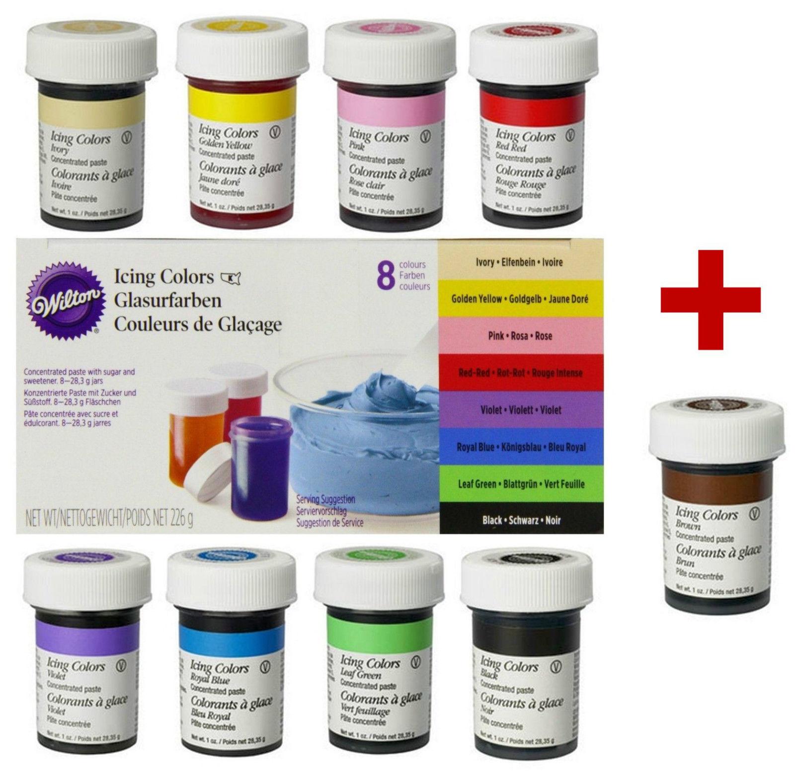 Wilton Icing Colors Lebensmittelfarbe 8 + 1 Gelfarben für Fondant braun