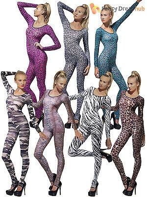 Adult 6 - 14 Bodysuit Skin Catsuit Sexy Ladies Fancy Dress Costume Animal Army